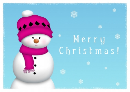 fuschia: Snowman on blue background with snow crystals.