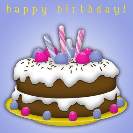 Chocolate birthday cake with white icing and candies. Stock Photo