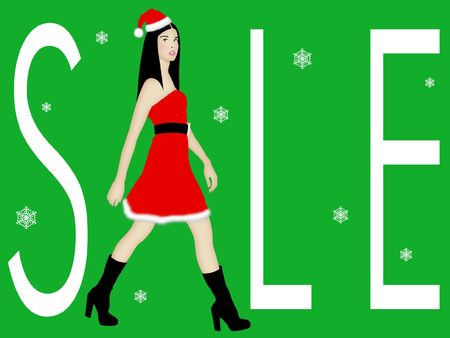 Christmas sale sign with walking fashion model. photo