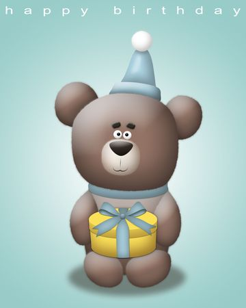 Cute bear with party hat holding a gift. Stock Photo - 8143191