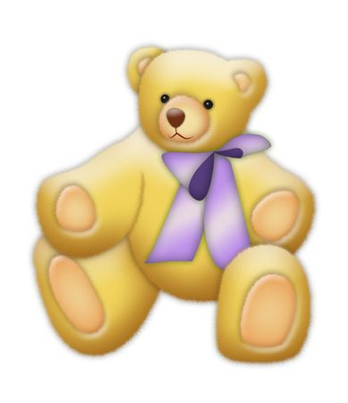 Teddybear with violet ribbon. photo