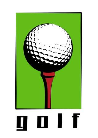 Golf ball on red golf peg. photo