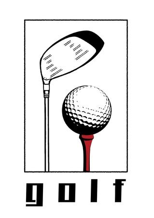 Golf ball and golfclub illustration. illustration