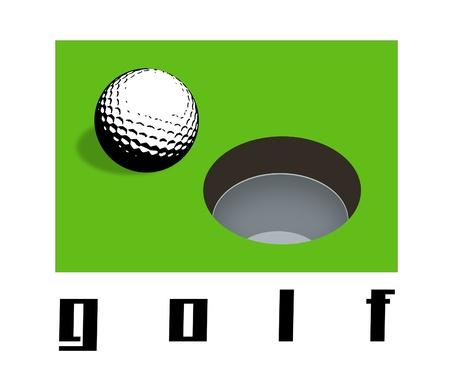 golfball: Golfball and golf hole illustration. Stock Photo