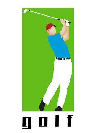 Golfer swinging a golf club with word golf. photo
