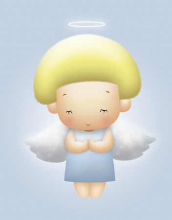 Floating angel with yellow hair praying.