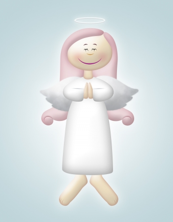 Floating angel with pink hair praying.