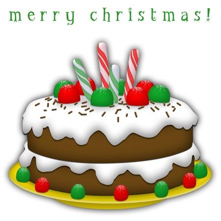 christmas cake: Chocolate Christmas cake with white icing and candies. Stock Photo