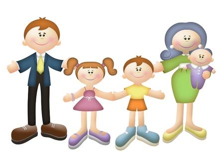 Cartoon illustration of a happy family.