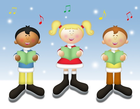carols: Three kids singing Christmas carols in winter setting.