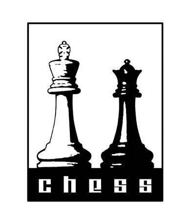 Chess symbol with king and queen pieces. Фото со стока