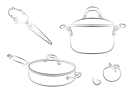 saute: Drawing of cooking pans with carrot and tomato.