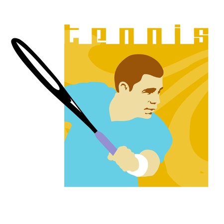 Tennis player swinging tennis racket. photo