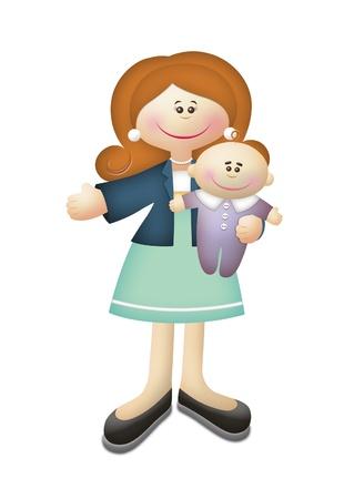 werkende moeder: Cartoon illustratie van werkende moeder die baby.