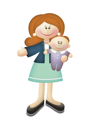 Cartoon illustration of working mother carrying baby. Stock Illustration - 8451503