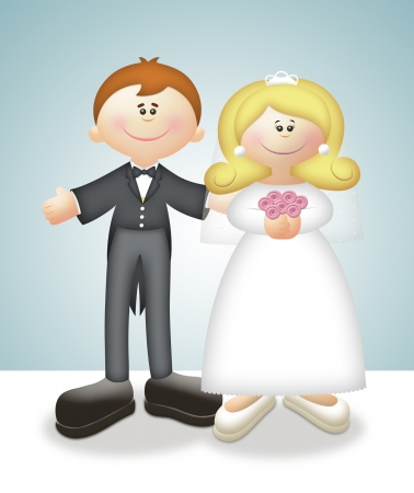mating: Cartoon illustration of bride and groom.