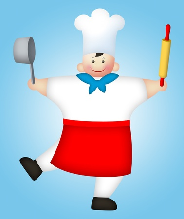 rolling: Cartoon chef holding pan and rolling pin. Stock Photo