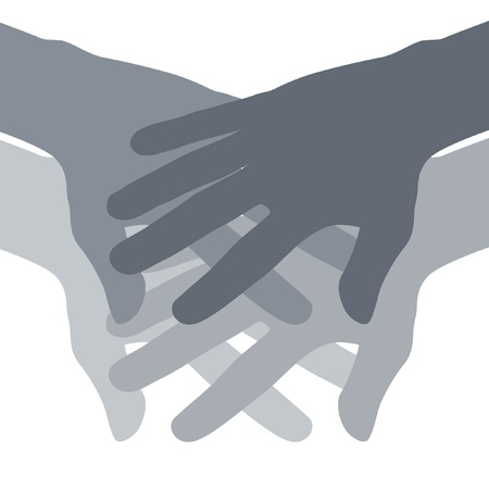 Abstract of hands piled on top of each other.