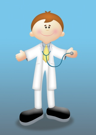 Cartoon doctor holding a stethoscope. Stock Photo - 8500002