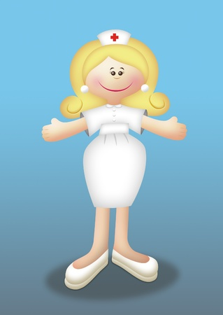Cartoon blonde nurse wearing uniform. photo
