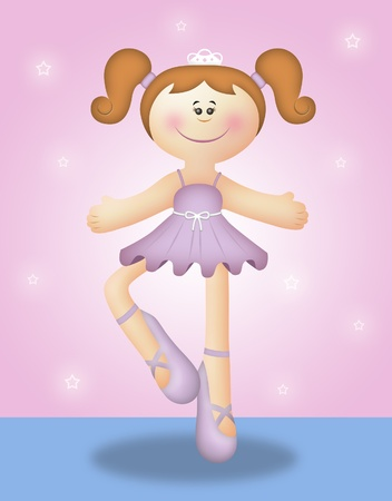 lavander: Cartoon illustration of cute ballerina girl.