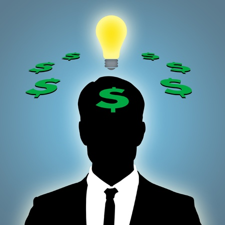Illustration of man thinking of business idea.