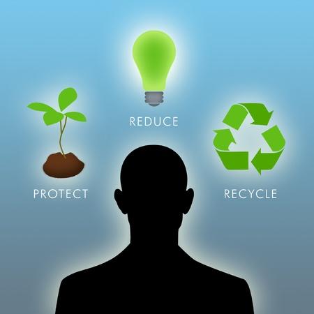 Illustration of man thinking of environmental things. illustration