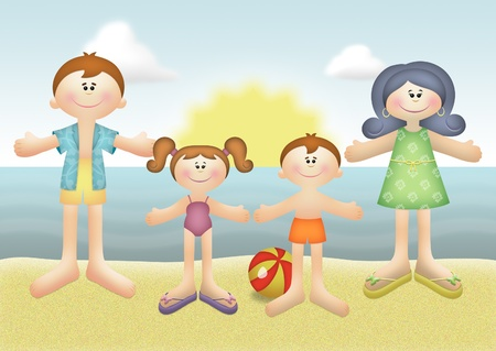 Family summer vacation on the beach. 版權商用圖片