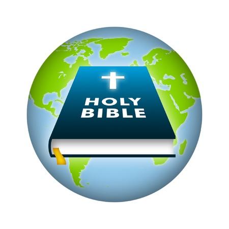 Bible illustration with earth background. Standard-Bild