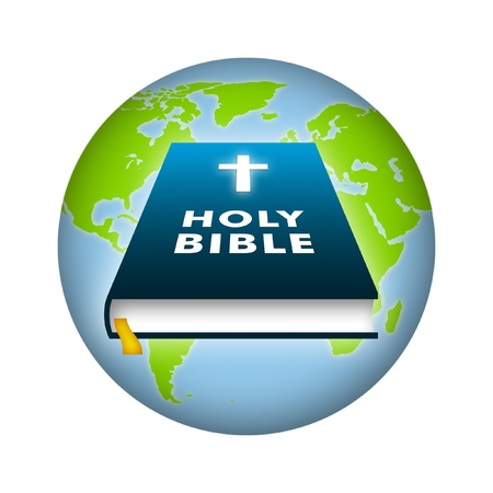 holy book: Bible illustration with earth background. Stock Photo