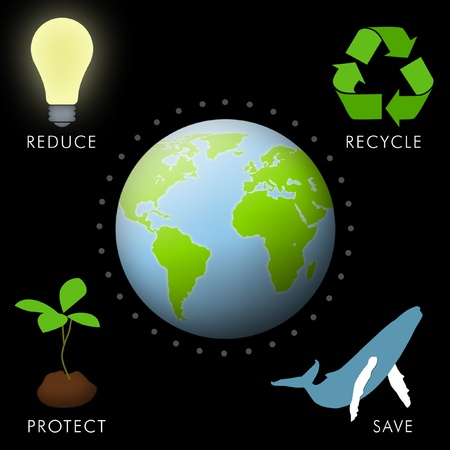 warming: Earth with environmental icons of reduce, recycle, protect, and save.