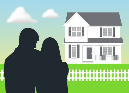 two storey: Couple looking at their dream house. Stock Photo