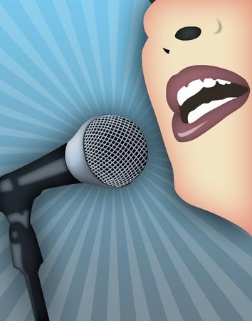Mujer hablando públicamente con micrófono. Foto de archivo - 8694092