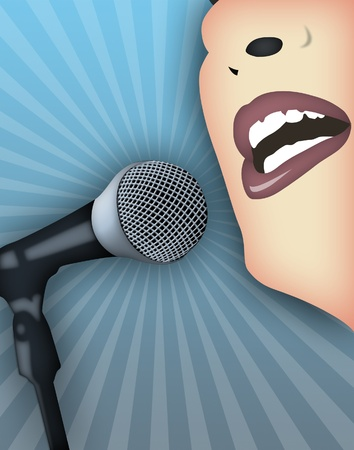 public speaking: Woman speaking publicly with microphone.