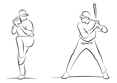 batter: Line drawings of baseball pitcher and batter.