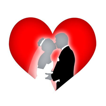 Mate: Heart with wedding couple kissing. Stock Photo