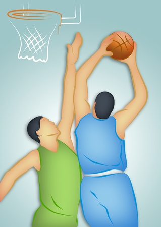 Line drawing of two basketball players. photo