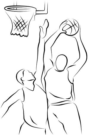 panier basketball: Dessin de deux joueurs de basket-ball.