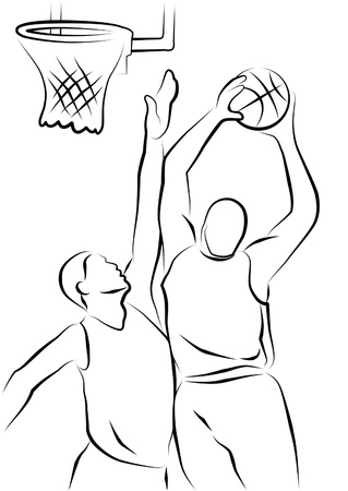 sports jersey: Line drawing of two basketball players. Stock Photo