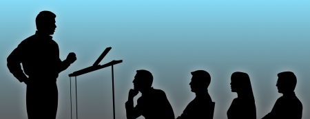 conference speaker: Silhouettes of conference speaker and listeners. Stock Photo