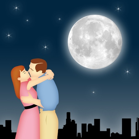 mate married: Couple kissing under moon and stars with cityscape. Stock Photo