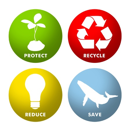 climate change: Environmental icons for Protect, Recycle, Reduce and Save.