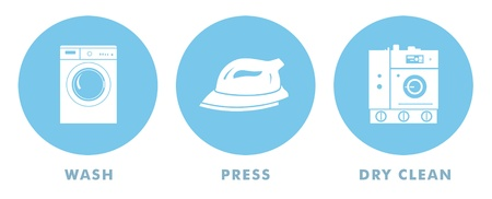 Laundry symbols for wash, press, and dry clean.