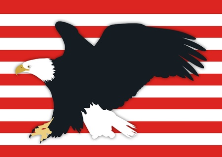 American bald eagle with red stripes background. photo
