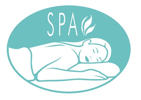 Logo for spa with woman lying down for massage. photo