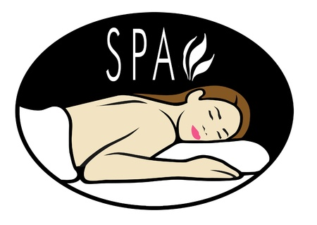 Logo for spa with woman lying down for massage.