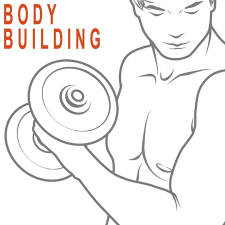 body built: Muscled man lifting dumbbells for body building. Stock Photo