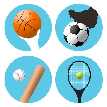 Symbols or icons for basketball, soccer, baseball and tennis.
