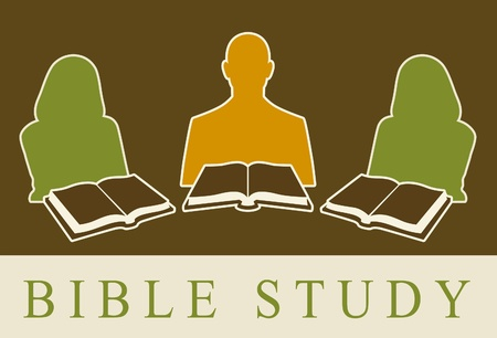 testaments: Abstract of people studying the Bible. Stock Photo