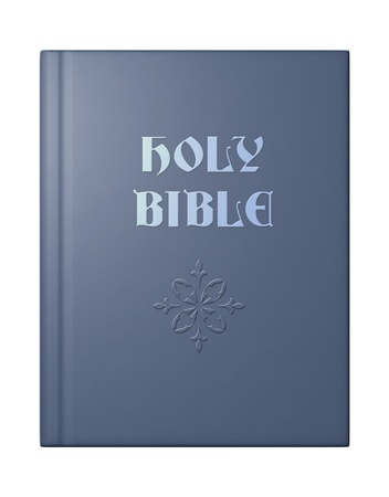 Blue 3D bible with embossed title and design. Stock Photo
